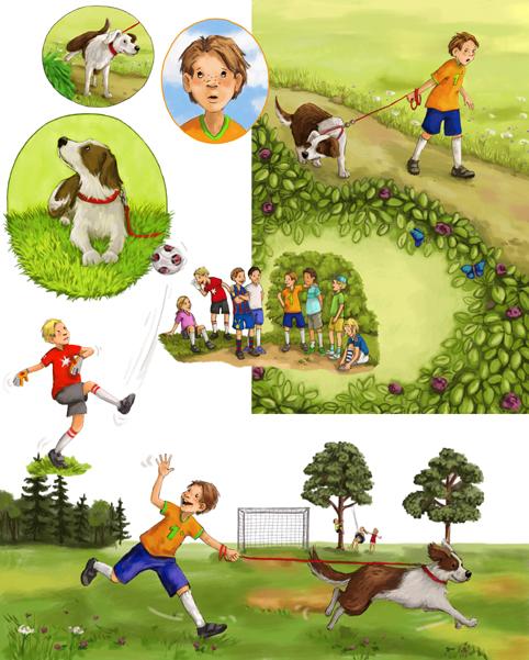 hier noch ein paar Bildauszüge aus einem Erstleser, der nächstes Jahr bei Oetinger Verlag erscheinen wird. Eine lustige Fußballgeschichte von Manfred Mai!